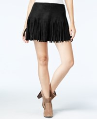 American Rag Fringe Faux Suede Mini Skirt Only At Macy's Classic Black