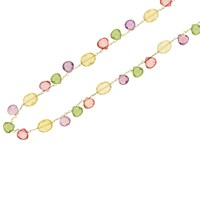 London Road 9Ct Yellow Gold Chain Bloomsbury Necklace Lemon Quartz Pink Topaz