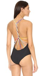 Red Carter Friendship Bracelet Braided Swimsuit Black