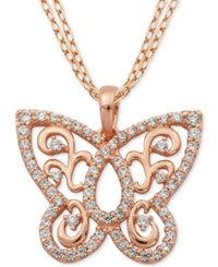 Giani Bernini Cubic Zirconia Butterfly Pendant Necklace In 18K Rose Gold Plated Sterling Silver Only At Macy's