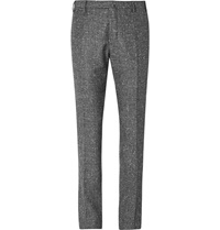 Boglioli Slim Fit Slub Wool And Cashmere Blend Suit Trousers Black