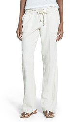 Roxy Women's 'Oceanside' Drawstring Woven Linen Blend Pants Stone