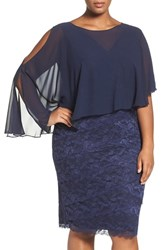 Marina Plus Size Women's Capelet Lace Sheath Dress Navy