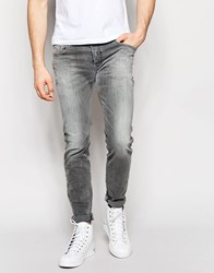 Diesel Jeans Sleenker 672J Skinny Fit Stretch Distressed Light Gray Wash Light Gray
