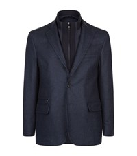 Corneliani Micro Diamond Weave Jacket Male Blue