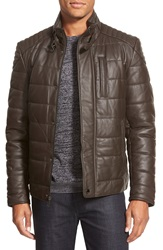 7 For All Mankind Quilted Leather Jacket Brown