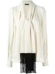 Plein Sud Jeans Bow Tie Collar Blouse Nude And Neutrals