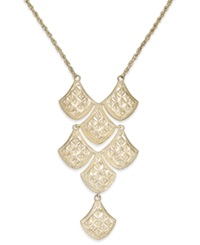 Macy's Diamond Cut Mesh Linked Frontal Necklace In 14K Gold Yellow Gold