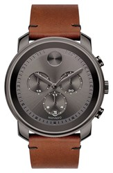 Men's Movado 'Bold' Chronograph Leather Strap Watch 44Mm