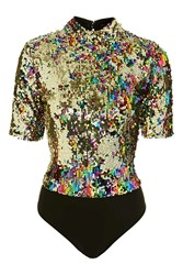 Jaded London Rainbow Sequin High Neck Body By Multi