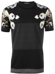 Dolce And Gabbana Floral Print Panelled T Shirt