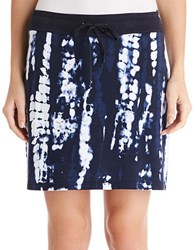 Jones New York Tie Dye Cotton Skirt Navy White