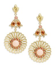 Gerard Yosca Sunburst Drop Earrings Coral