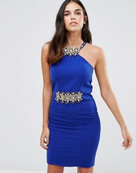 Forever Unique Marilyn Midi Dress With Embelished Neck And Waist Sax Blue