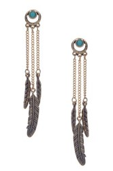 Sparkling Sage Detailed Stone And Feather Trio Drop Earrings Blue