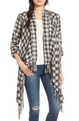 Billabong Women's 'Liv It Up' Plaid Fringe Kimono White Cap