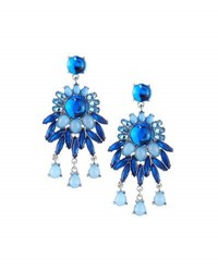 Fragments For Neiman Marcus Floral Crystal Statement Drop Earrings Silver