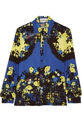 Erdem Cecilia Printed Silk Shirt Blue