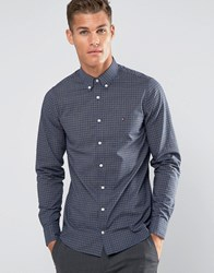 Tommy Hilfiger Shirt With Grid Check In Slim Fit Navy 08878A0738