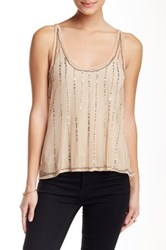 Angie Beaded And Sequin Mesh Tank Beige