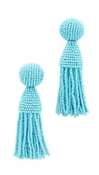 Oscar De La Renta Short Tassel Clip On Earrings Aqua