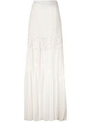 Roberto Cavalli Embroidered Long Skirt White