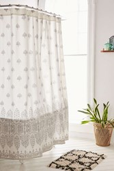 Plum And Bow Bessum Stamped Shower Curtain Grey