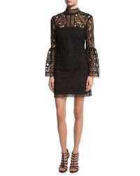 Rachel Gilbert Crocheted Lace Mock Neck Cocktail Dress Black