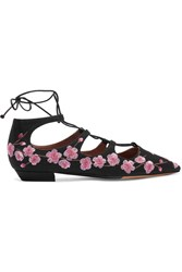 Tabitha Simmons Magnolia Blossom Embroidered Canvas Point Toe Flats Black