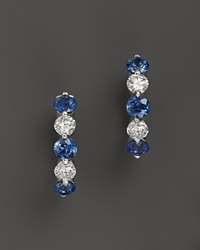 Bloomingdale's Sapphire And Diamond Huggie Hoop Earrings In 14K White Gold Multi