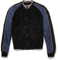 Lanvin Suede And Jersey Bomber Jacket Navy
