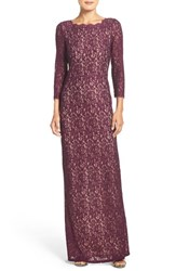 Adrianna Papell Women's Scalloped Lace Gown Mulberry Nude