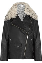 Topshop Unique Swinton Shearling Trimmed Textured Leather Biker Jacket Black