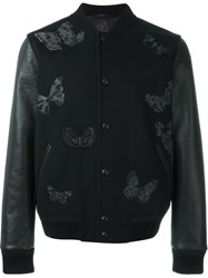 Valentino Embroidered Butterfly Bomber Jacket Black