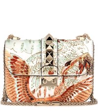 Valentino Lock Small Embroidered Leather Shoulder Bag Multicoloured