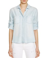 Bella Dahl Split Back Button Down Chambray Shirt Desert Sky Wash