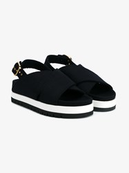 Marni Wool Felt Cross Over Sandals Blue White Black