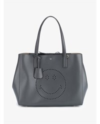 Anya Hindmarch Leather Smiley Tote Grey Denim Pink