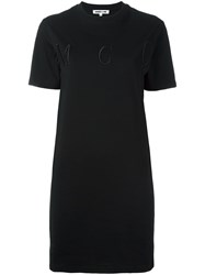 Mcq By Alexander Mcqueen Embroidered Logo T Shirt Dress Black
