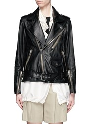 3.1 Phillip Lim Detachable Silk Vest Leather Combo Biker Jacket Black