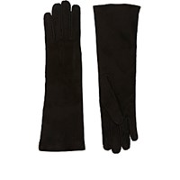 Barneys New York Women's Whipstitched Suede Gloves Black Blue Black Blue