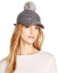 August Accessories Boucle Baseball Cap With Rabbit Fur Pom Pom Gray