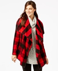 G.H. Bass And Co. Plaid Open Front Jacket Flame Combo
