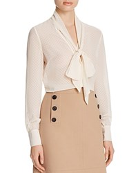 Karen Millen Tie Neck Devore Blouse 100 Bloomingdale's Exclusive Ivory