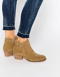 Oasis Real Suede Buckle Detail Ankle Boot Stone Beige