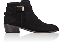 Barneys New York Women's Buckle Strap Suede Ankle Boots Black