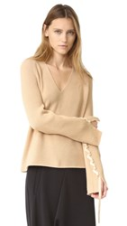 Helmut Lang Wool Cashmere V Neck Sweater Sand