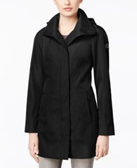 Calvin Klein Asymmetric Zip Hooded Walker Raincoat Black