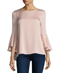 Milly 3 4 Bell Sleeve Stretch Silk Blouse Light Pink