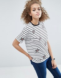 Asos T Shirt With Star Badges And Stripe In Longline Fit White Multi